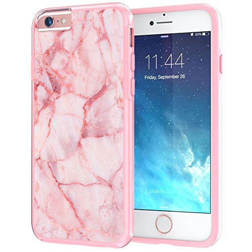 "iPhone 6 6s langlebige Schutzhülle Cover / Case / Hülle / Fall, True Color® Weißer Marmor [Kollektion Stein-Textur] Slim Hybrid Hartschale + Soft-TPU-Bumper 6 / 6s 4.7"" [True Protect Serie] Pink Marble"