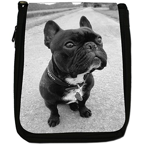 British Bulldog inglese Medio Nero Borsa In Tela, taglia M Black Bulldog