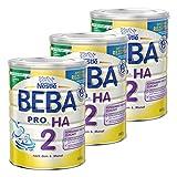 Nestlé BEBA PRO HA 2, Säugling Milch, Babynahrung, HA Nahrung, Folgemilch, 3 x 800 g, 12332784