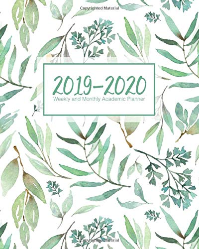 2019-2020 Weekly and Monthly Academic Planner: Greenery Botanical On White -