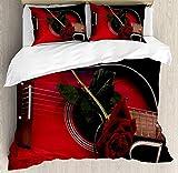 Ensemble housse de couette avec fermeture à glissière 3 pièces rouge noir musicien espagnol portugais guitare avec thème de l'amour Amour Valentine 's Rose Durable Ensemble de literie en tissu hypoall