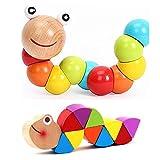 EQLEF® Raupe Spielzeug Buntes Insekt Holzspielzeug Babyspielzeug Kind Lernspielzeug
