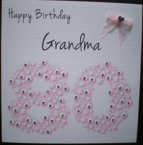 Handmade cards by veronica der beste preis amazon in savemoney happy birthday card grandma 80th pink flowerbed handmade card by handmade cards by veronica bookmarktalkfo Image collections