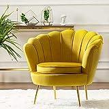 Round shaped Flower chair - Mettle legs - velvet (yellow)