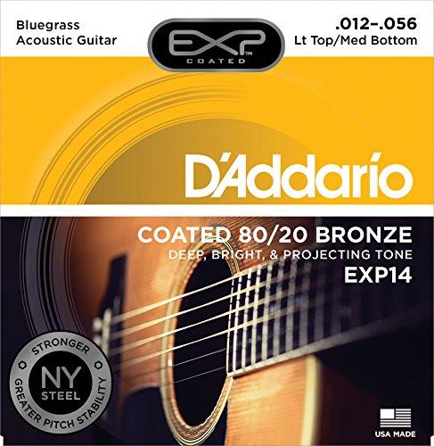 D'Addario EXP14 Saiten für Akustikgitarren Light Top/Medium Bottom/Bluegrass 12-56 mit 80/20 Bronze-Umwicklung - Bronze Medium Light
