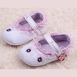 Froomer Zapatos Niñas Encaje Floral Suave con Suele Zapato Infantil Preandador Primeros Pasos