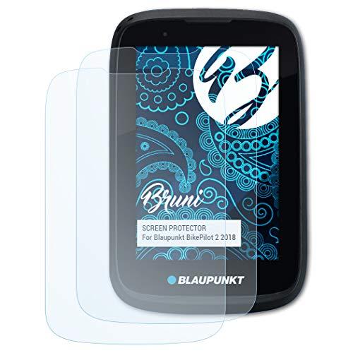 Bruni Schutzfolie kompatibel mit Blaupunkt BikePilot 2 2018 Folie, glasklare Bildschirmschutzfolie (2X)