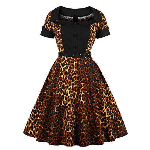 Lenfesh Mujer Vestido Manga Corta con Estampado Leopardo Vestidos Rockabilly de Noche Vestido de Fiesta
