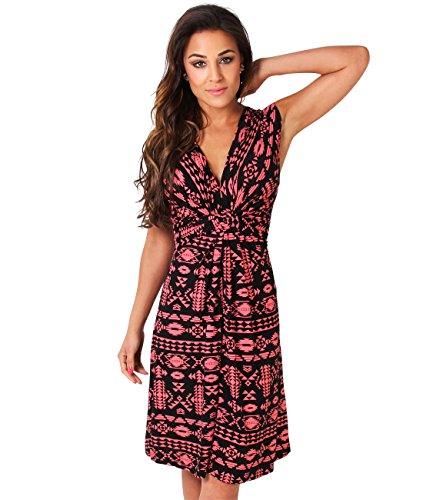 KRISP Damen 6607 Kleid, Rosa (Koralle/Schwarz 36), 44 (Herstellergröße: 16)