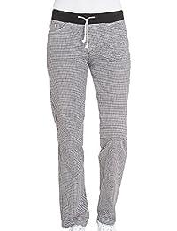 Leiber Damen Koch-/ Bäckerhose L | 100% Baumwolle | Schwarz-Weiß kariert | 2 Seitentaschen + 2 Gesäßtaschen | Stretch