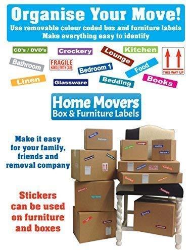 1er Pack - 227 Aufkleber (Empfohlen für ein 1 Schlafzimmer Wohnung) Moving Home - Karton Kiste & Möbel - Farbcode Id Aufkleber/Etiketten
