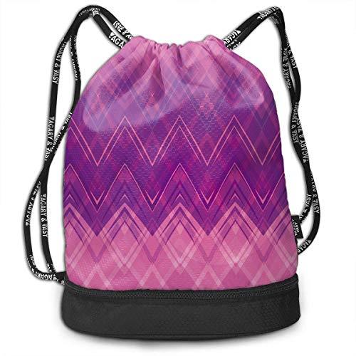 Juzijiang Pink Ripple Design Fashion Beam Mouth Shoulder Bag Travel Drawstring Backpack Shoulder for Women -