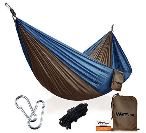 Wolfyok Portabel Camping Hängematte, 290 x 140cm Multifunktionen Super Leicht Nylon Fallschirm Outdoor Reise Garten Hammock für Mehrpersonen Kapazität 230kg ( Blau )
