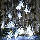 10 Leds Globe Lichterkette 2 Meter, TIREOW Kugel Lichter Pentagramm Licht, Batteriebetriebene für Party, Weihnanchten, Geburtstag, Hochzeit, Garten, Wohnzimmer, Terrasse (Weiß)