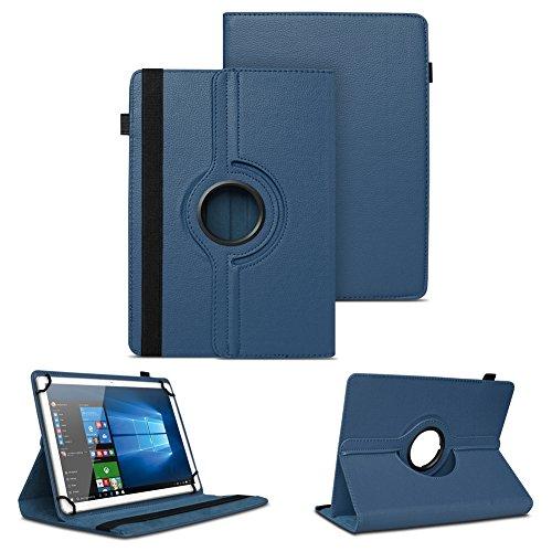 NAUC XORO PAD 9W4 PRO Universal Tablet Schutzhülle hochwertiges Kunst-Leder Hülle Tasche Standfunktion 360° Drehbar Cover Case, Farben:Blau