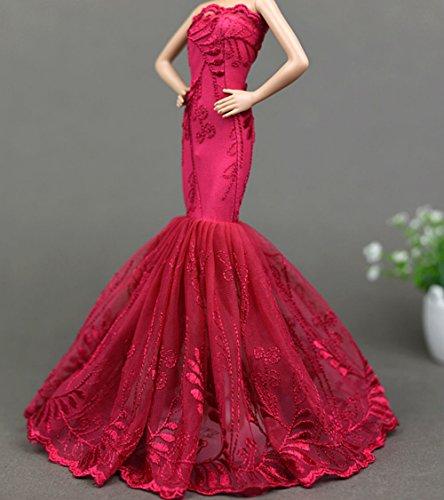 BU-02 Schöne und modische handgefertigte elegante schöne Hochzeit Abend-Partei-Kleid für Barbie Puppe(Puppen nicht im Lieferumfang enthalten) (schwarz 2)