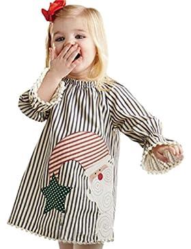 Amlaiworld Baby Weihnachtsmann gestreift drucken kleidung Mädchen mode langarm Quaste niedlich kleider,0-5Jahren