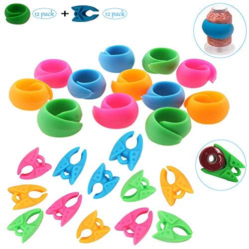 Hugger de Bobine de Fil,24 Pack Fil Clips Silicone Porte Canette Clips Support de Bobine Multicoloré pour Machine à Coudre