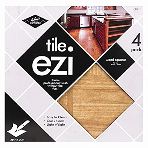 Stalwart F-20249 Adhesive Floor Tiles, Wood Effect (Pack of 4)
