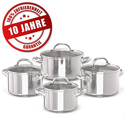 Prestige 10 Jahre Garantie Topfset - Griffe Werden Nicht heiß - 4 Edelstahl-Kochtöpfe mit Glasdeckel - 16, 18, 20 und 24cm Induktionskochtöpfe mit Messskala - Rostfreies Töpfe Set