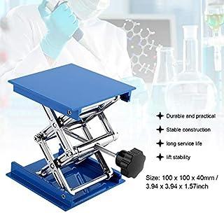 Aluminium-Laborhebebühne, blau verstellbarer Laborständer-Scherenheber für physikalische, chemische, biologische Experimente, 100 x 100 mm