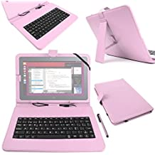 "DURAGADGET Funda / Teclado ESPAÑOL Rosa 10.1 "" Para la tablet BQ Aquaris M10 Ubuntu Edition 10.1"" | HD | Full HD - Conexión MicroUSB + Lápiz Stylus"