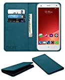 Acm Rich Leather Flip Wallet Front & Back Case for Zte Blade S6+ Plus Mobile Flap Magnetic Cover Turquosie
