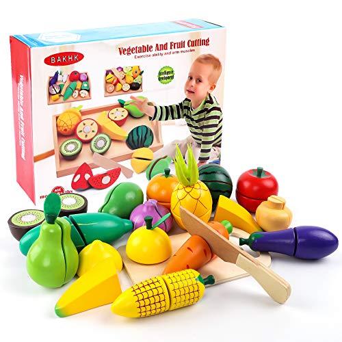 BAKHK Küchenspielzeug Holz für Kinder Obst Gemüsen Spielzeug, 34-TLG., Lebensmittel Schneiden mit Klett-Verbindung