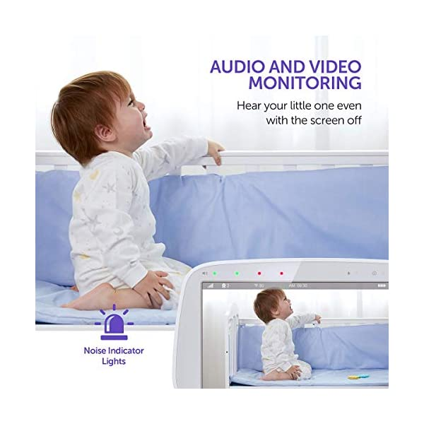 """Baby Monitor, VAVA 720P 5"""" HD Display Video Baby Monitor with Camera and Audio, IPS Screen, 480ft Range, 4500 mAh Battery, Two-Way Audio, One-Click Zoom, Night Vision and Thermal Monitor VAVA 【High quality 5-inch baby monitor】Equipped with an advanced 5-inch LCD screen and 720P HD camera, the image quality is 10 times higher than the traditional 240P display baby monitor. When your baby moves, it can move 270° horizontally or 110° vertically, and can also zoom in 2x and 4x. It also has full-color images of the day and grayscale infrared images of the night, so you can clearly see all the subtle movements of your little baby. 【Up to 24hr Battery Life】 VAVA Baby monitor built in 4500mAh rechargeable battery lasts for 12hrs in display mode, 24hrs with the display turned off for full-day monitoring of your baby. 【Effortless Monitoring】 LED noise indicators and an external thermostat keep you accurately updated on your baby's wellbeing; set to the highest to alert even the heaviest sleeper or set to low volume to hear only loud noises with 7 volume levels.When your baby is crying, you can immediately respond to the walkie-talkie system to calm your baby. 5"""