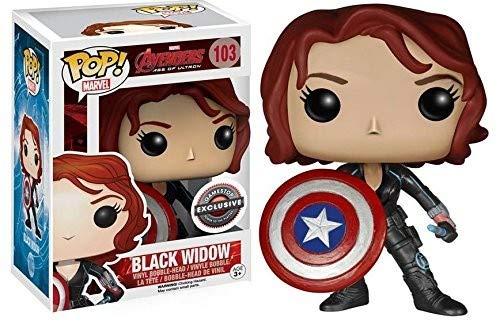 5-Pop-Marvel-Avengers 2-Black Widow mit Cap' S Shield 103-Schwarz/Grau ()