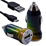 Seluxion - Chargeur voiture allume cigare USB avec câble data avec motif CV06 pour BlackBerry : 8520 Curve / 8900 Curve /9300 Curve 3G / 9320 Curve / 9360 Curve / 9380 Curve / 9700 Bold / 9780 Bold / 9790 Bold / 9800 Torch / 9810 Torch / 9860 Torch / 9900 Bold Touch / PlayBook