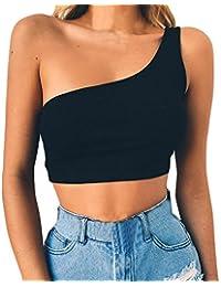 Morwind Camiseta sin Mangas, Sujetador sin Espalda Tunica Mujer Blusas de Mujer Elegantes de Fiesta Blusa Hombros Descubiertos Crop Tops Mujer Chaleco Mujer t Shirt