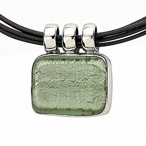 """Gabriella Nanni, collier en coton ciré avec centrale en argent 925et verre de Murano-Verre Non déclaré-Collier Rectangle """" Verde Giada"""