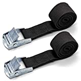 Pack of 2 Lashing Straps with Buckle Good for Roof-top Tie Down with Kayaks, Canoes, Carriers and Other Roof Mounted Luggage Cargo (1M x 2.5cm)