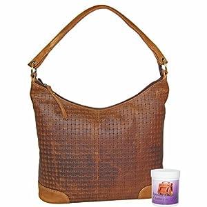 Bolso de compras para mujer / bolso de hombro GAZANIE de cuero marrón en set con un bote de cuidado del cuero - MANDY von MALTZAHN