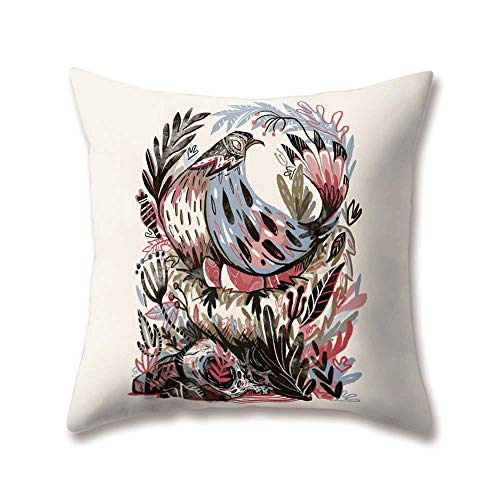 "Soft Plush Zoo Cushion Covers Creative Animal Fox Wolf Ukulele Music Cock Monkey Printing Throw Soft Plush Pillow Cases for Home Sofa Bed Decorative,20""x20""inches"