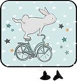 wolga-kreativ 2 Stück Auto SonnenSchutz SonnenBlende Hase Fahrrad für Baby und Kind Autofenster Sonnenschutz (Doppelpack)