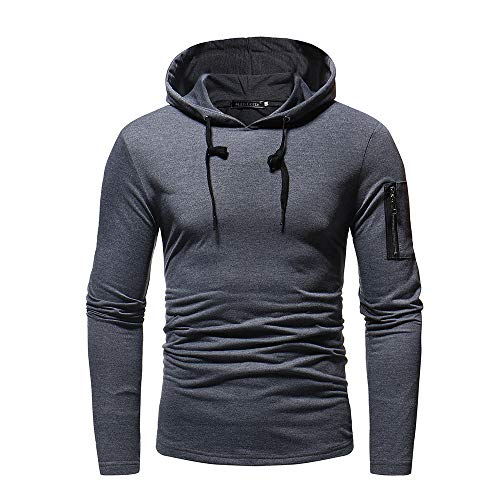 IMJONO Mens ' Autum Winter Long Ärmel Pocket Patchwork Hooded Sweatshirt Outwear Tops (EU-44/CN-M,Dunkelgrau)