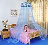 8Decades Moskitonetz-Bettvorhang an runder Befestigung paillettenbesetzt blau