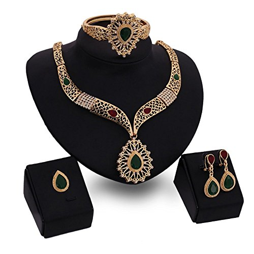 Young & Forever Paradiso Mesmerizing Prom Wedding Overgild Gold Plated Jewelry Sets Necklace Earrings Bracelet & Rings Set for Women Girls (N80325)