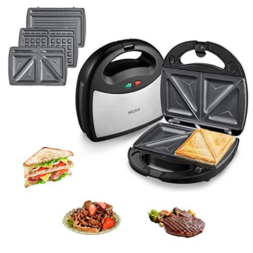 Aicok sandwich maker 3in1 800w, tostapane 3 piastre removibili, piastra waffle riponibile verticalmente, griglia di contatto con piastre lavabili in lavastoviglie, acciaio inossidabile, nero