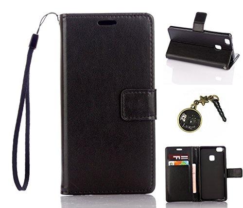 Preisvergleich Produktbild für Smartphone P9 Lite Hülle,Hochwertige Kunst-Leder-Hülle mit Magnetverschluss Flip Cover Tasche Leder [Kartenfächer] Schutzhülle Lederbrieftasche Executive Design +Staubstecker (2DD)