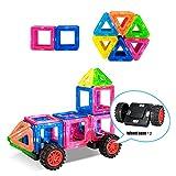 Magnetische Bausteine, 38 Stück Magnetische Bauklötze Set Kinder Pädagogische Spielzeug mit Räder Magnetspielzeug Geschenk für Jungen und Mädchen über 3 Jahre alt.