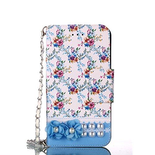 Shinyzone Huawei P10 Lite Hülle mit Kartenfächer,Huawei P10 Lite Handtasche Hülle,PU Leder Brieftasche Handytasche mit Blumen Muster Handschlaufe Kette für Frauen,Stoßfest Schutzhülle Bookstyle Magnetverschluss Flip Hülle,Lila Blume Perle (Perlen-taste)