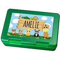 Brotdose mit Namen Amelie - Motiv Zoo, Lunchbox mit Namen, Frühstücksdose Kunststoff lebensmittelecht preisvergleich bei kinderzimmerdekopreise.eu