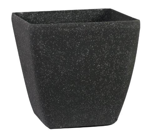 Pietra Luce Serie SK 43 centimetri Fusioni pietra rotonda Planter - invecchiato Nero Sandstone (confezione da 2)