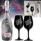 Sansibar Rosé Spumante Geschenk-Set|inkl. 2 Champagner-Gläser aus schwarzem Kristall | Luxus für Frau & Freundin |Sylt Weihnachten Special |Geschenkkarte Ice Weihnachtsgeschenk Rose