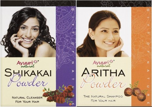 Ayuuri Shikakai (Acacia) & Aritha (Soap Nuts) Powder Combo Pack (100g x 1 Qty Each) - Natural Ayurvedic Hair Conditioner & Shampoo Powder