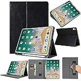 2018 Hülle Folio Leather Wallet Card Stand Case Schutzhülle mit Stifthalter für iPad Pro 12.9in (Schwarz)