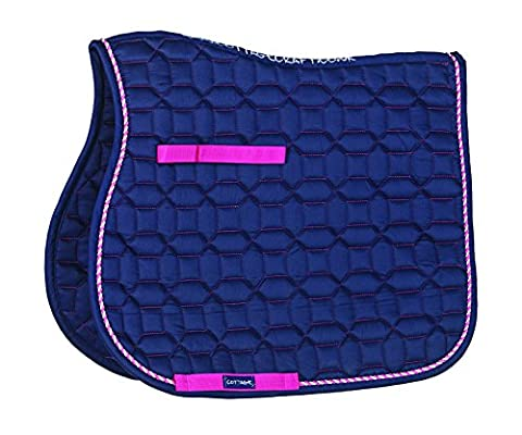 Cottage Craft Electra Pattern Quilted Saddle Cloth - Navy Blue, Full
